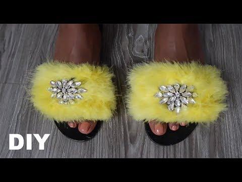 DIY Fur Jewel Sandals