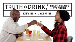 Stepparents & Stepkids Play Truth or Drink (Kevin & Jazmin) | Truth or Drink | Cut