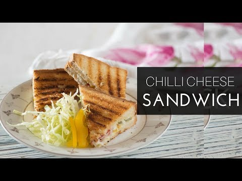 Veggie Chilli Cheese Sandwich Recipe -Chilli Cheese Grilled Sandwich Toast - Indian sandwich