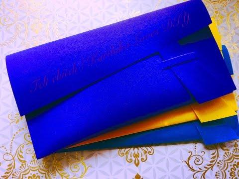 DIY no sew Felt clutch / purse in 2 minutes ( super easy ) | Karthika Loves DIY