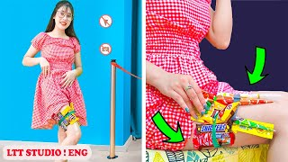 HOW TO SNEAK FOOD ANYWHERE YOU GO || Cool Sneak Food To The Movie Hacks #33