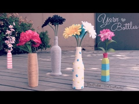 Yarn Wrapped Bottle // Vase - Room Decor - How To - Home Decor