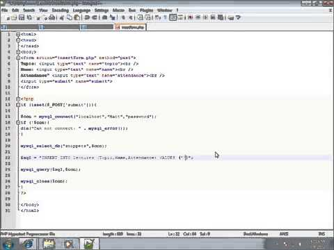 PHP Lesson 35   Inserting Form Data into MySQL using PHP