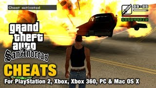 This video shows all the cheats available for Grand Theft Auto San Andreas  Cheats do not prevent obtaining 100% of game statistics but they will decrease your criminal ranking.  It is not advised to save the game after using cheats as some cannot be turned off and may affect the gameplay preventing you from completing the story or other missions.  ===================================  0:25 - Full health, armor and money 0:42 - Infinite health 1:26 - Suicide 1:39 - Weapon set 1 2:00 - Weapon set 2 2:22 - Weapon set 3 2:44 - Parachute 2:56 - Hitman level in all weapons 3:21 - Infinite ammo 3:44 - Adrenaline mode 4:28 - Infinite oxygen (lung capacity) 5:32 - Never get hungry 5:48 - Skinny CJ 6:05 - Fat CJ 6:21 - Muscled CJ 6:35 - Clear wanted level 6:51 - Raise wanted level 7:13 - 6 stars wanted level 7:40 - Never wanted 8:18 - Maximum vehicle stats 8:44 - Maximum stamina 9:01 - Maximum sex appeal 9:14 - Maximum respect 9:36 - Super punch 10:05 - Super jump 10:25 - Beach party 11:15 - Funhouse theme 11:56 - Ninja theme 12:43 - Sex party 13:28 - Country theme 14:21 - Elvis is alive 15:09 - Prostitutes pay you 16:17 - Chaos mode 16:50 - Pedestrians hate you 17:18 - Pedestrians hate you (Guns) 18:07 - Pedestrians carry weapons 18:41 - Pedestrians riot 19:10 - Recruit anyone (9mm) 19:54 - Recruit anyone (AK-47) 20:26 - Recruit anyone (RPG) 21:18 - Gang members everywhere 21:54 - Gangs control the streets 23:08 - Slower gameplay 23:46 - Faster gameplay 24:17 - Improved car handling 24:56 - All cars have nitrous 25:32 - All taxis have nitrous 26:03 - Flying cars 26:53 - Water cars 27:25 - Vehicles float away 28:16 - Invisible cars 28:43 - Black cars 29:18 - Pink cars 30:08 - Sports cars 30:54 - Junk cars 31:58 - Aggressive drivers 32:28 - Reduced traffic 33:24 - Green light 33:51 - Drive-by 34:33 - Super bunny hop 35:02 - Vehicle of death 35:53 - Blow up all vehicles 36:08 - Flying boats 37:02 - Spawn a Bloodring Banger 37:27 - Spawn a Caddy 38:02 - Spawn a Dozer 38:56 - Spa
