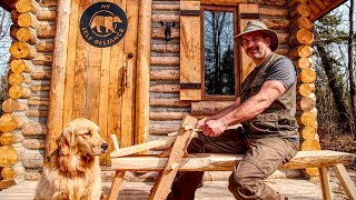Traditional Woodworking in the Forest with My Dog, Cali the Golden Retriever