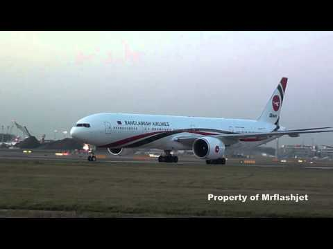 Biman Bangladesh Airlines 777-3E9ER {S2-AFO} Flight Arrivals Plane Spotting at London Heathrow