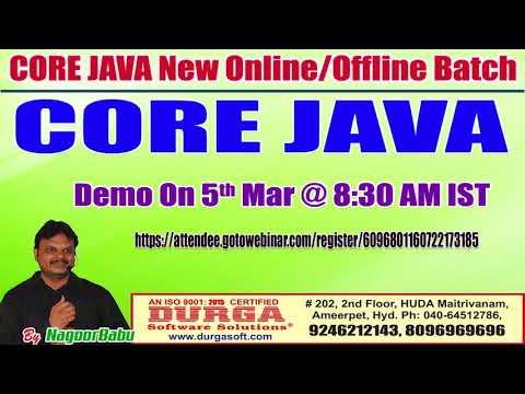 CORE JAVA Online Training in DURGASOFT