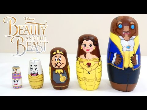Painting BEAUTY AND  THE BEAST Nesting Dolls