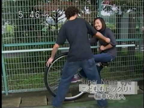 Foreigner on a Giant Unicycle in Fukushima, Japan