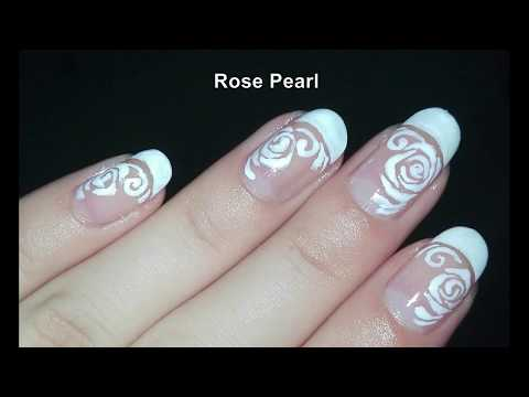 DIY French Manicure with Roses Nail Art Tutorial: No Tools Nail Art Design | Rose Pearl