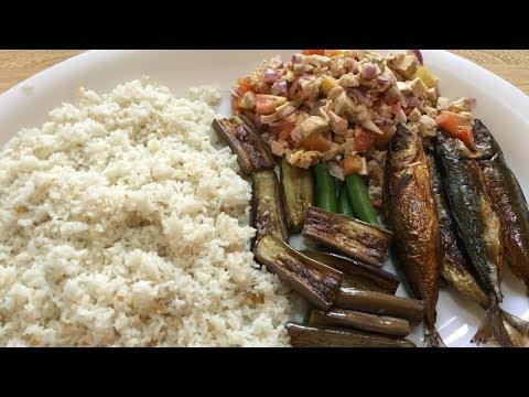 Filipino breakfast (tinapa,itlog na maalat, gulay, sinangag) ~ Mukbang