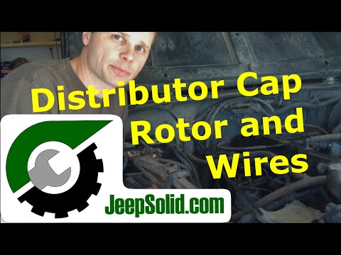 Jeep distributor cap: Distributor cap, rotor, and spark plug wires