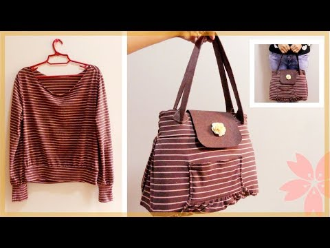 DIY Handbag: From Long Sleeve Shirt to Spacious Handbag (Recycling Old Clothes)