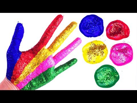 Learn Colors for Children Hand Body Paint Finger Family Song Nursery Rhymes Sparkle Glitter Painting