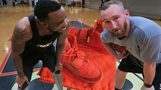 RARE LIMITED RED OCTOBER YEEZY SNEAKER WAGER! 1 VS 1 BASKETBALL GAME! $4,000 WORTH!