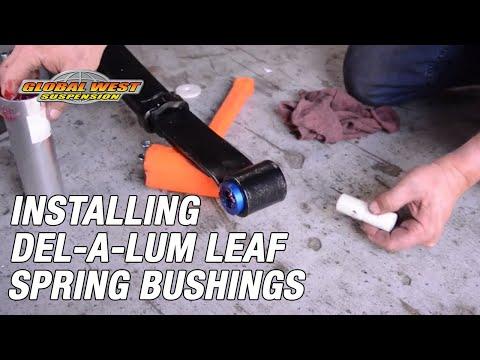 How to install Global West Del-a-lum leaf spring bushings on Camaro, Firebird, and Nova.