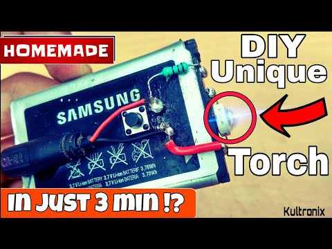 HOW TO MAKE A MINI RECHARGEABLE LED TORCH/FLASHLIGHT AT HOME TUTORIAL/SIMPLE LIFE HACKS/AMAZING IDEA