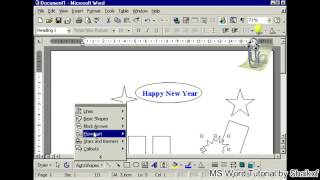 insert stars and bannars using auto shapes in MS word tutorial by Shaikof