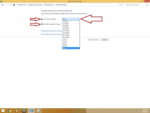 Windows 8.1 Turn off the Display & Sleep Time Setting