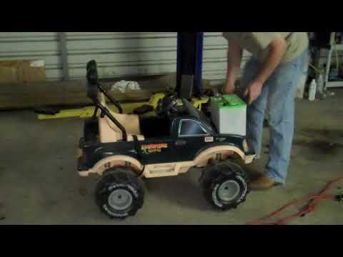 Car Battery in a Power Wheels Monster Truck