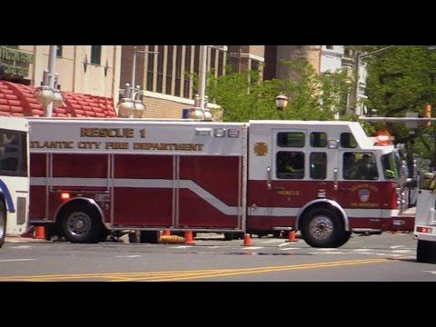 Atlantic City NJ Fire Department Battalion 2, Rescue 1 & Engine 2 Responding to AtlantiCare Hospital