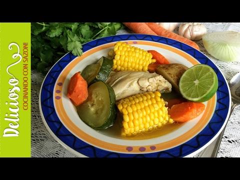 Caldo de Pollo con Verduras / Delicious Mexican Chicken Soup with Vegetables