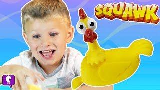 🐓SQUAWK CHICKEN GAME! Egg-splosive Surprise Egg Goes Flying Everywhere HobbyKidsTV