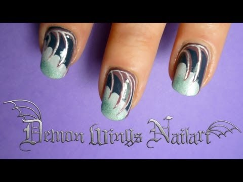 tutorial how to do gothic demon wing nail art for halloween