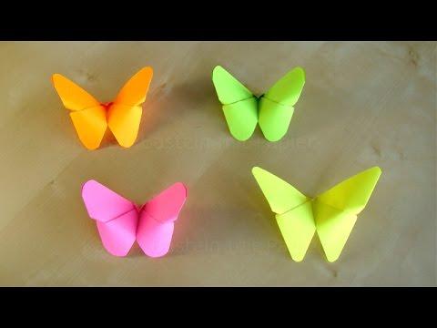 Basteln: Origami Schmetterling falten mit Papier. Bastelideen Geschenke: DIY Deko