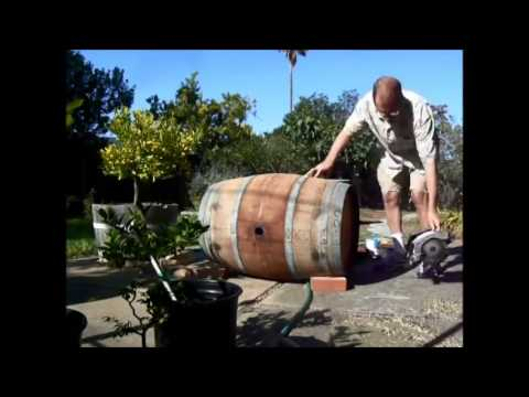Cutting a wine barrel for garden containers