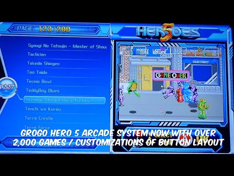 GroGo l H5 Arcade Video Game Console Unique system with 2000 Games, Customized Buttons