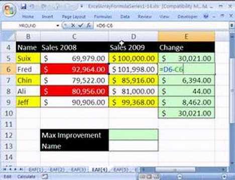Excel Array Formula Series #4: Find Largest Improvement