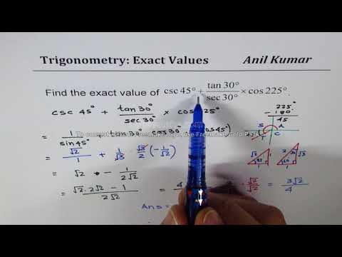 Find Exact Value of (sin 315 + cot 300)^2 Trigonometric Expressions