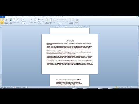 Change the page orientation and size of a single paqe in a Word document [Word 2010, 2016]