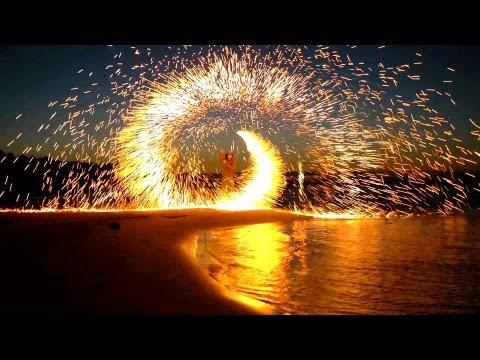 Steel Wool Fireworks on the Beach