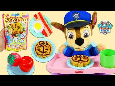 Feeding Paw Patrol Baby Chase Doraemon DIY Japanese Chocolate Pancakes!