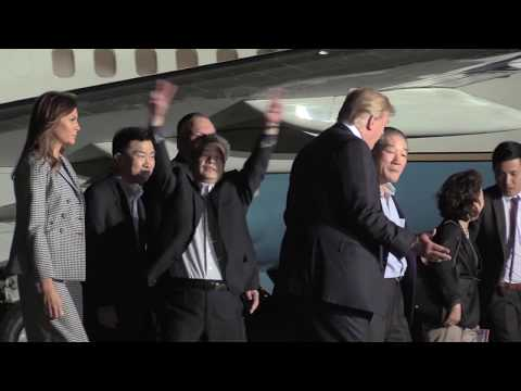 President Trump welcomes American detainees back from North Korea @ Joint Base Andrews