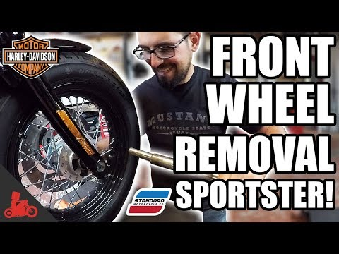 How To Remove & Install FRONT WHEEL + Tire Change! - Harley Sportster!