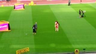 London 2017 mascot Hero hedgehog & Iwan Thomas entertaining crowds at World Athletics Championships