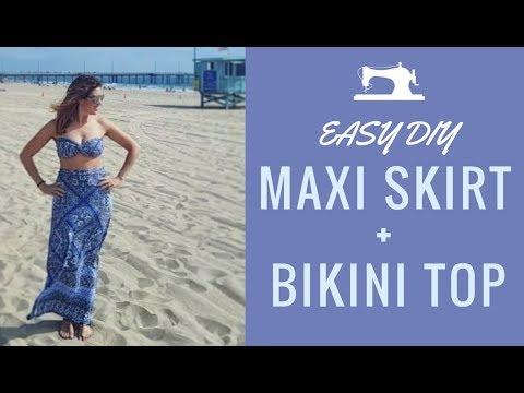 How to sew a high waisted maxi skirt + twisted bandeau bikini top (EASY)