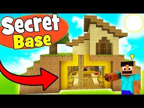 Minecraft Tutorial: How To Make A Survival House With a Secret Underground Hidden Base!