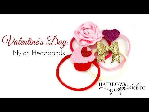 DIY Headbands for Girls - Valentine's Day Nylon Headbands - Hairbow Supplies, Etc.