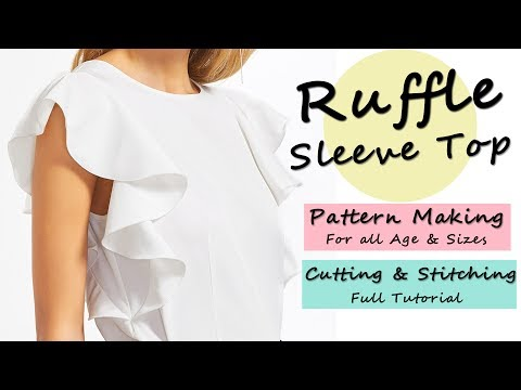 Designer Ruffle Sleeve Top ( Pattern / Cutting & Stitching )