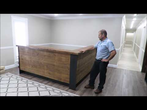 Building a reception desk. Metal and wood. Step by step. Using metal blackener linseed oil.