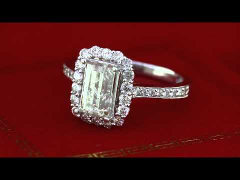 2.66Ct Vintage Style Emerald Cut Diamond Halo Engagement Ring in 14K White Gold