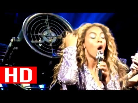 Beyonce's Hair Gets Stuck In Fan (EXTREME CLOSE-UP)