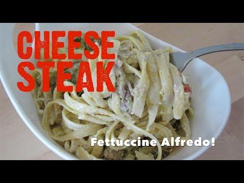 CHEESESTEAK Fettuccine ALFREDO Recipe on Let's Get Greedy! #57