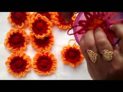 how to make beautiful wool flower फूल बनाने की