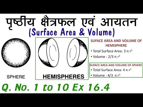 Q. No. 1 to 10 Ex 16.4 Ch 16 Surface Area and Volume (पृष्ठीय क्षेत्रफल एवं आयतन) Class 10 Maths