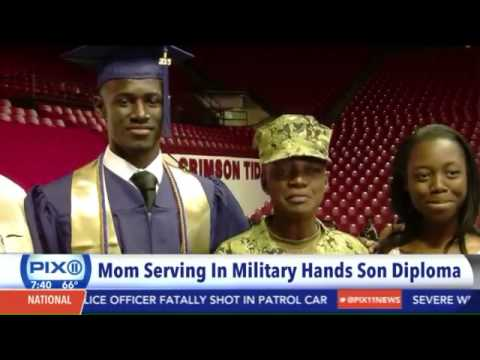 Military mom surprises son at high school graduation